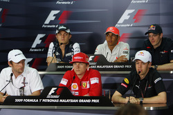 FIA press conference: Jenson Button, Brawn GP, Nico Rosberg, Williams F1 Team, Kimi Raikkonen, Scuderia Ferrari, Lewis Hamilton, McLaren Mercedes, Sebastian Vettel, Red Bull Racing, Sébastien Bourdais, Scuderia Toro Rosso