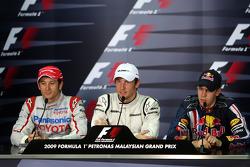 FIA press conference: pole winner Jenson Button, Brawn GP, with third place Sebastian Vettel, Red Bull Racing, second place Jarno Trulli, Toyota F1 Team