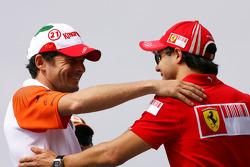 Giancarlo Fisichella, Force India F1 Team and Felipe Massa, Scuderia Ferrari