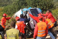 Bernardo Sousa and Jorge Carvalho, Fiat Grande Punto S2000, crash