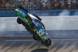 Carl Edwards, Roush Fenway Racing Ford,  goes flying up the track on the last lap
