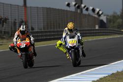 Dani Pedrosa, Repsol Honda Team and Valentino Rossi, Fiat Yamaha Team
