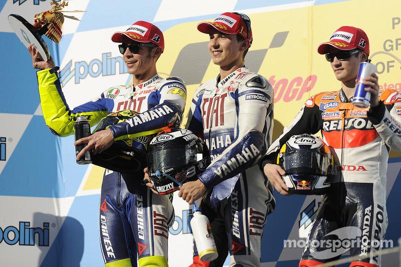 2009: 1. Jorge Lorenzo, 2. Valentino Rossi, 3. Dani Pedrosa