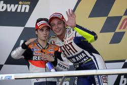 Podium: race winner Valentino Rossi, Fiat Yamaha Team, second place Dani Pedrosa, Repsol Honda Team
