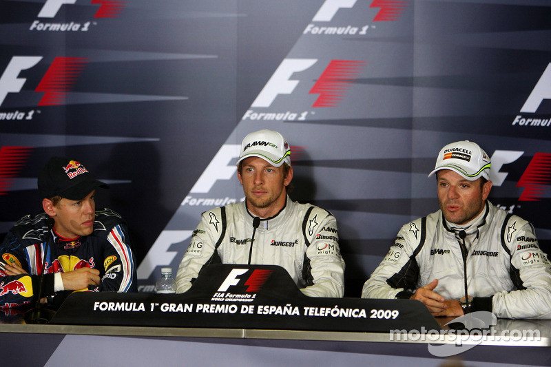 FIA press conference: Sebastian Vettel, Red Bull Racing, pole winner Jenson Button, Brawn GP, Rubens Barrichello, Brawn GP