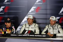 FIA press conference: Sebastian Vettel, Red Bull Racing, pole winner Jenson Button, Brawn GP, Rubens Barrichello, Brawn GP