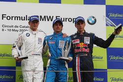 Podium, Michael Christensen, Muecke Motorsport, Luiz Felipe Nasr, Eurointernational and Daniel Juncadella, Eurointernational