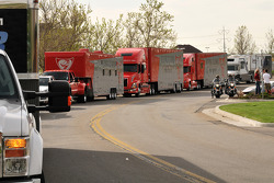 Flying Lizard Motorsports transporters at the South Towne Mall