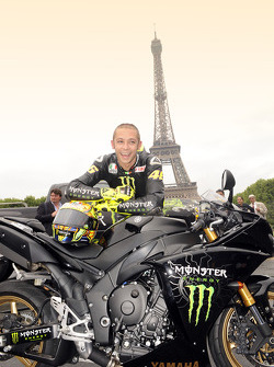 Valentino Rossi, Fiat Yamaha Team, in front of the Eiffel Tower in Paris