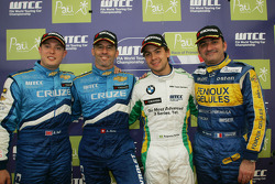3rd, Robert Huff, Chevrolet, Chevrolet Cruze, 1st, Alain Menu, Chevrolet, Chevrolet Cruze, 2nd, Augusto Farfus, BMW Team Germany, BMW 320si and Winning Privateer Eric Cayrolle, Sunred, Seat Leon