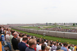 The massive turn three, short chute and turn four of the Indianapolis Motor Speedway