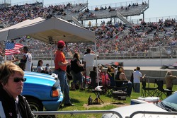 Infield fans watch the racing action