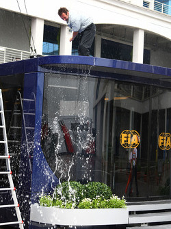 Water is brushed of the FIA motorhome