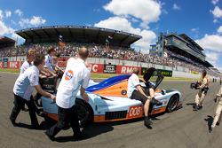 #008 Aston Martin Racing Lola Aston Martin pushed to starting grid