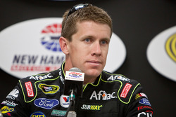 Carl Edwards, Roush Fenway Racing Ford, speaks to the media