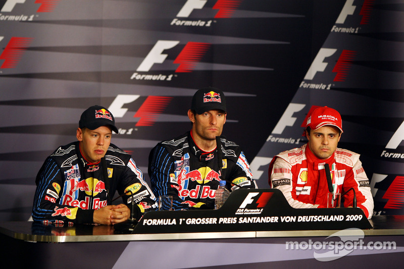 1. Mark Webber, Red Bull Racing; 2. Sebastian Vettel, Red Bull Racing; 3. Felipe Massa, Ferrari