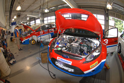 The Ford Fiesta's are prepared at Phil Long Ford prior to practice for the Pikes Peak Hillclimb