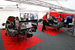 The cars of Robert Wickens and Tobias Hegewald in the paddock