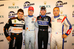 LMGT2 pole winner Pierre Kaffer, LMP1 pole winner Stefan Mücke, LMP2 pole winner Olivier Pla, LMGT1 pole winner Laurent Groppi