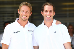 Jenson Button, Brawn GP and Olympic Yaught Champion Ben Ainslie