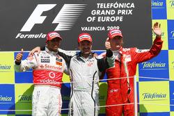 Podium: 1. Rubens Barrichello, 2. Lewis Hamilton, 3. Kimi Raikkönen