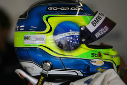 Ayrton Senna sticker on the helmet of Augusto Farfus, BMW Team Germany, BMW 320si