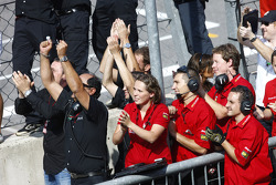 The ART Grand Prix team celebrate as Nico Hulkenberg wins the championship