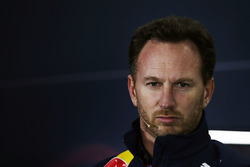 Christian Horner, Red Bull Racing Team Principal, durante la conferenza stampa