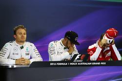 1. Lewis Hamilton, Mercedes AMG F1 Team; 2. Nico Rosberg, Mercedes AMG F1 Team; 3. Sebastian Vettel, Ferrari, während der Pressekonferenz