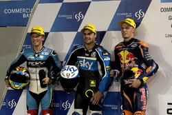 Livio Loi, RW Racing GP BV, Honda; Romano Fenati, SKY Racing Team VR46, KTM; Brad Binder, Red Bull KTM Ajo, KTM