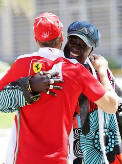 Sebastian Vettel, Ferrari with Mr Moko