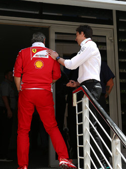 Toto Wolff, Mercedes GP Executive Director and Maurizio Arrivabene, Ferrari Team Principal
