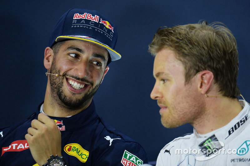 Conferencia de prensa: Daniel Ricciardo, Red Bull Racing, Nico Rosberg, Mercedes AMG F1 Team
