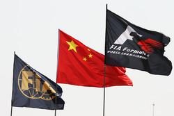 FIA, China, and F1 flags