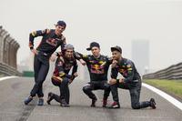 Daniel Ricciardo, Red Bull Racing; Daniil Kvyat, Red Bull Racing; Max Verstappen, Scuderia Toro Rosso und Carlos Sainz Jr., Scuderia Toro Rosso