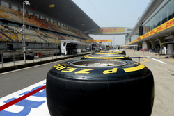 Pirelli tyres in the pitlane