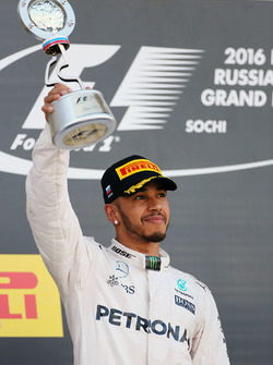 Podium: second place Lewis Hamilton, Mercedes AMG F1 Team