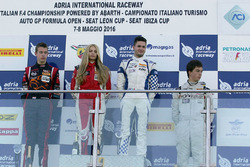 Race 3 rookie podium: Simone Cunati, Vincenzo Sospiri Racing, Richard Verschoor, Bhaitech Engineering, Ian Rodriguez Wright, DRZ Benelli