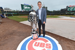 Executive Vice President and General Manager of the Chicago Cubs Jed Hoyer with the Borg-Warner Trophy at Wrigley Field