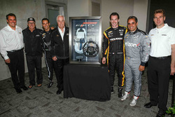 Roger Penske with the 2017 Camaro SS 50th Anniversary Edition pace car steering wheel and drivers Simon Pagenaud, Juan Pablo Montoya, Will Power, Rick Mears and Helio Castroneves