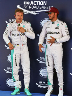 Nico Rosberg, Mercedes AMG F1 with team mate and pole sitter Lewis Hamilton, Mercedes AMG F1 in parc ferme
