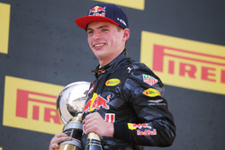 Race winner Max Verstappen, Red Bull Racing celebrates on the podium