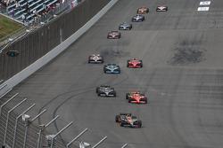Danica Patrick, Andretti Green Racing leads Graham Rahal, Newman/Haas/Lanigan Racing and Marco Andre