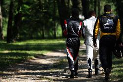 Pietro Gandolfi walks in after the first lap crash