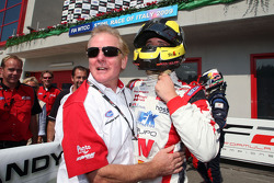 Andy Soucek celebrates third place and the Championship win in Parc Ferme with Jonathan Palmer Motorsport Vision Chief Executive