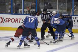 Atlanta Thrashers hockey game: Atlanta Thrashers and Carolina Hurricanes players hard at work