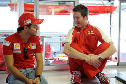 Felipe Massa, Scuderia Ferrari, gets ready for his first F1 test since his accident, with Rob Smedley
