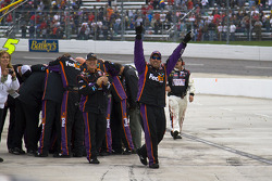 Joe Gibbs Racing Toyota crew members celebrate Denny Hamlin's win
