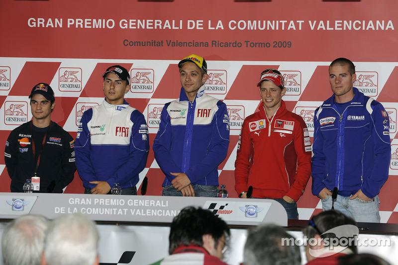 Conferencia de prensa: Andrea Dovizioso, Repsol Honda Team, Jorge Lorenzo, Fiat Yamaha Team, Valentino Rossi, Fiat Yamaha Team, Casey Stoner, Ducati Marlboro Team y Ben Spies, Yamaha Factory Racing