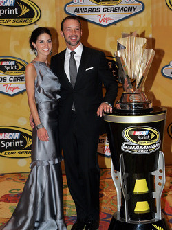 Crew chief Chad Knaus with his girlfriend Lisa Rockelmann pose with the Sprint Cup